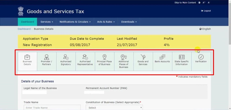 how to apply for gst number online