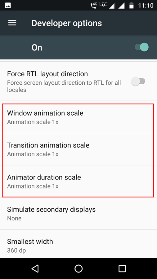 developer options in android