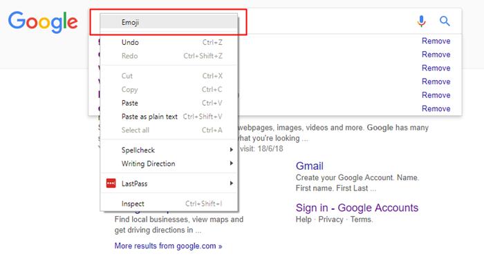 emoji panel in google chrome