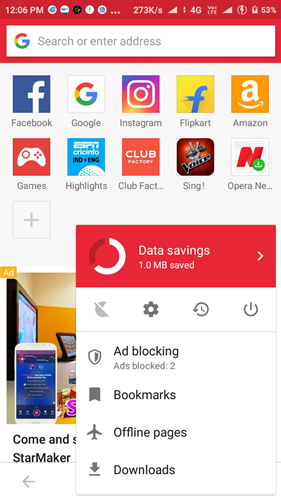 Best LightWeight Browsers For Android Opera Mini