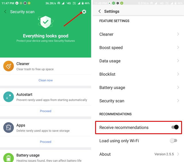 disable ads in miui security
