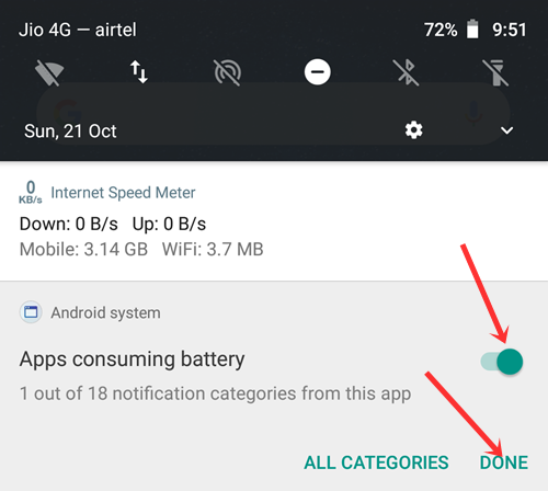 app is using battery notification