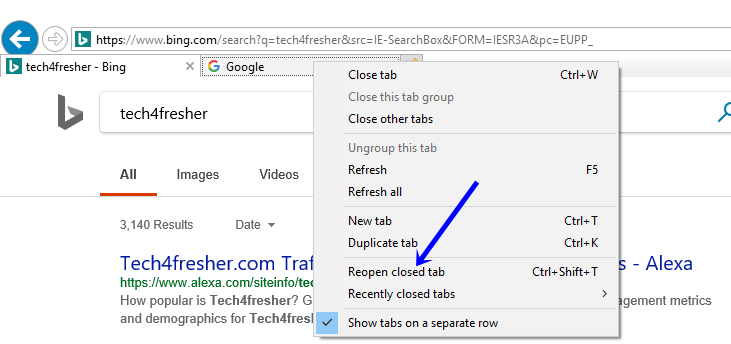 recently closed tabs internet explorer