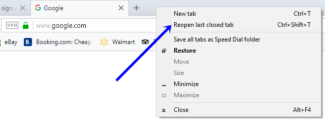 recently closed tabs opera