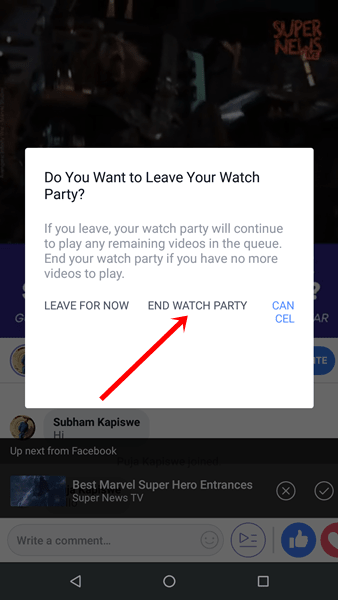 end watch party facebook
