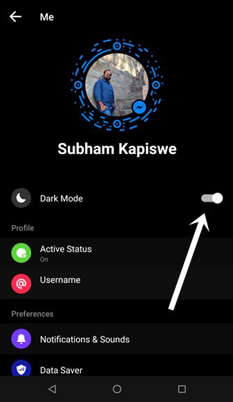 enable dark mode messenger 3