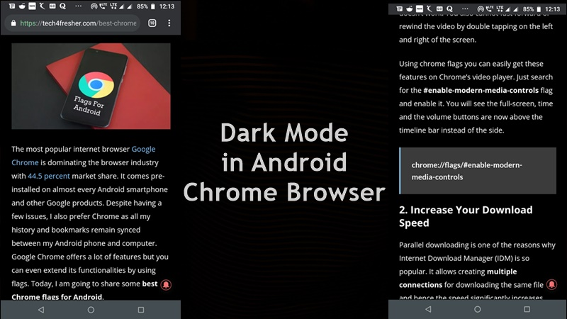 Activate Dark Mode in Android Chrome Browser