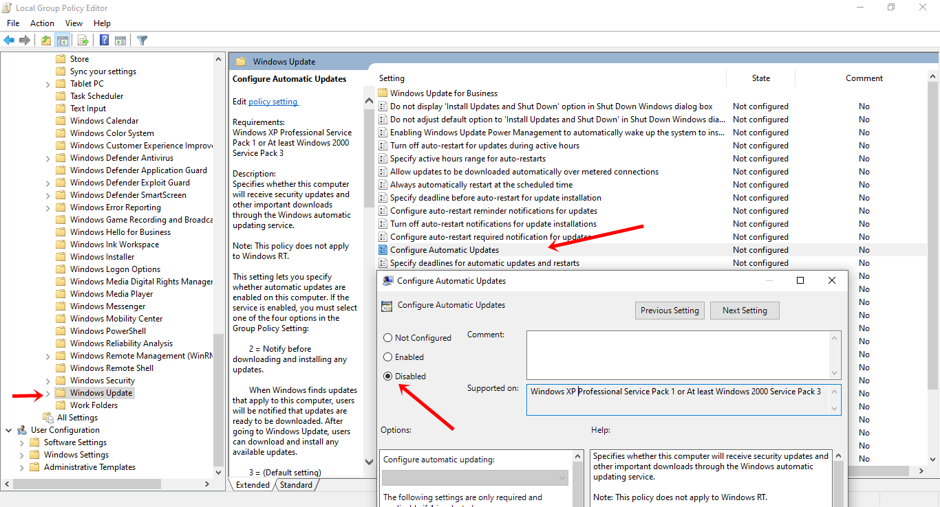 Stop Windows 10 Stop Automatic Updates Using Group Policy