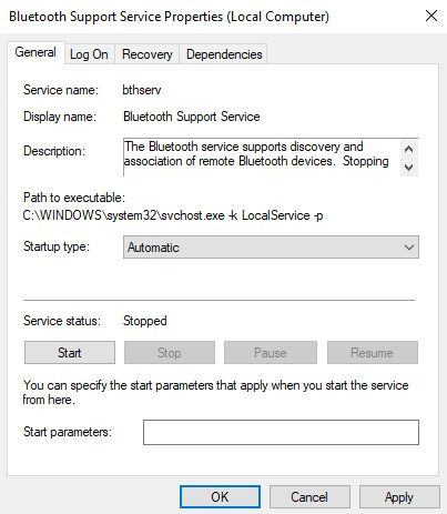 bluetooth support service