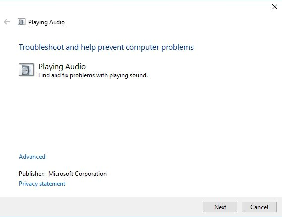 Using Troubleshooter to Restore Audio