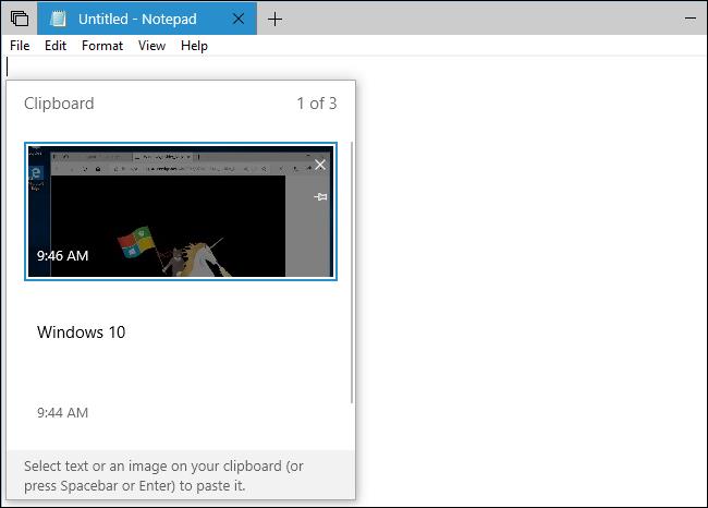 Clipboard history Windows 10