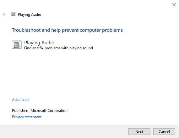 audio troubleshooter