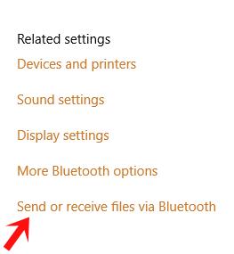 send or receive files via bluetooth