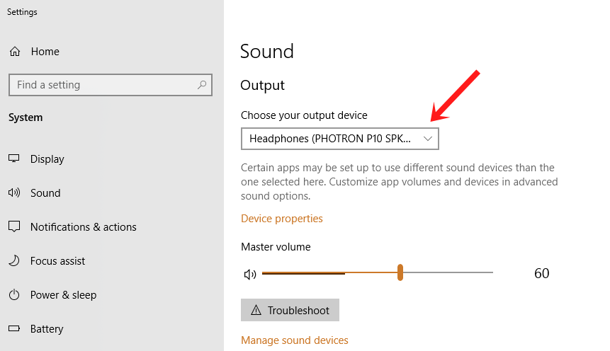 default audio device windows 10