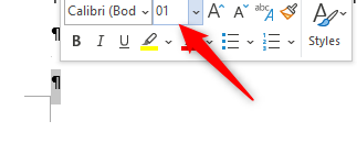 font size prompt word