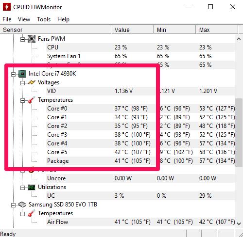 Check CPU temperature