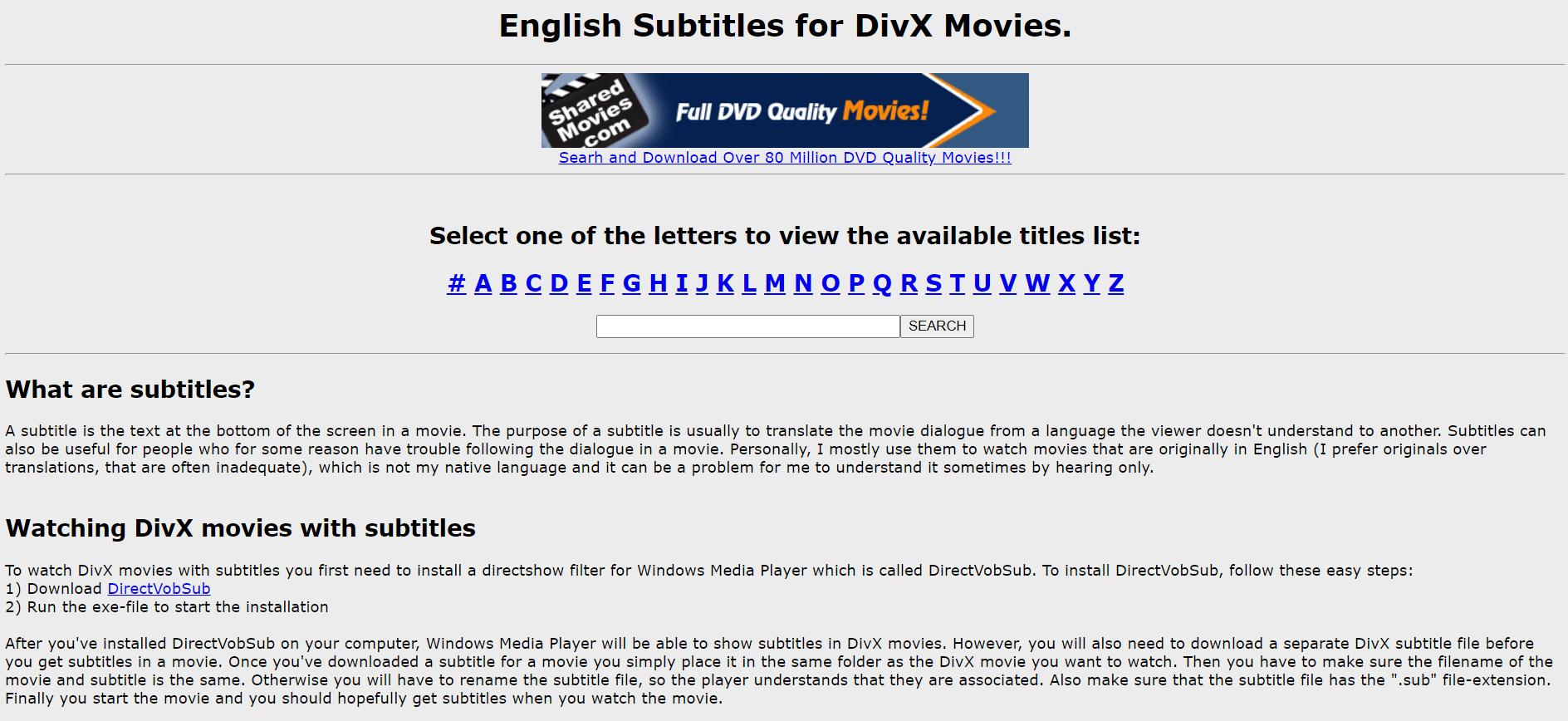 DivX Movies English Subtitles